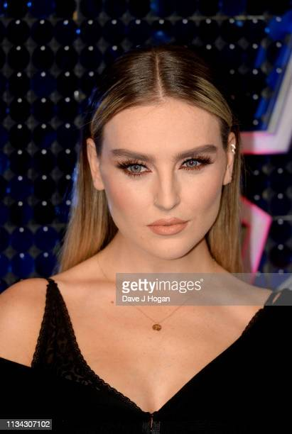 Perrie Edwards of Little Mix arrives at the The Global Awards with Very.co.uk at Eventim Apollo, Hammersmith on March 07, 2019 in London, England.