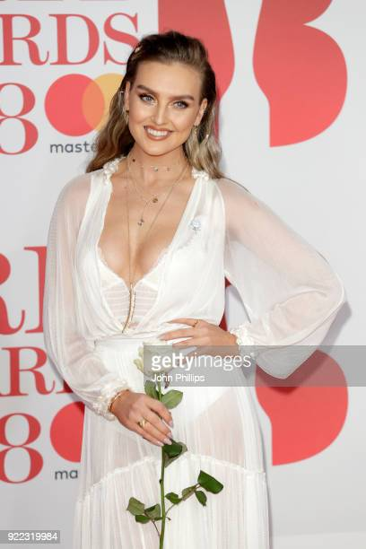 AWARDS 2018*** Perrie Edwards of Little Mix attends The BRIT Awards 2018 held at The O2 Arena on February 21 2018 in London England