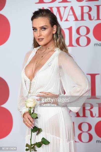 Perrie Edwards of Little Mix attends The BRIT Awards 2018 held at The O2 Arena on February 21, 2018 in London, England.