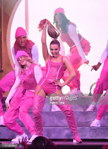 Perrie Edwards of Little Mix performs during The BRIT Awards 2019 held at The O2 Arena on February 20 2019 in London England