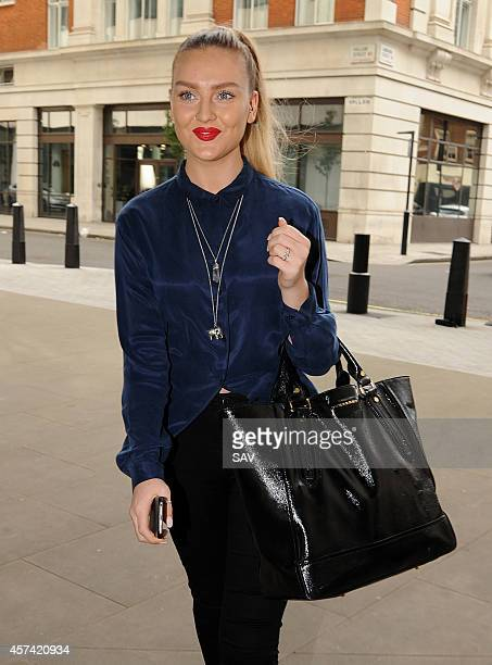 Perrie Edwards of the band Little Mix arrives at BBC Radio 1 on October 18 2014 in London England