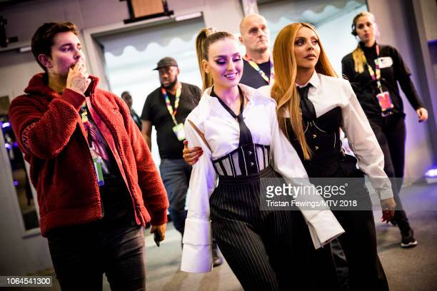 Perrie Louise Edwards and Jesy Nelson during the MTV EMAs 2018 at Bilbao Exhibition Centre on November 04 2018 in Bilbao Spain