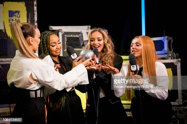 Perrie Louise Edwards LeighAnne Pinnock Jade Thirlwall and Jesy Nelson of Little Mix during the MTV EMAs 2018 at Bilbao Exhibition Centre on November...