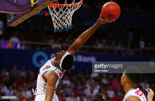 Perrin Buford of the Bullets attempts to rebound during the round nine NBL match between the Sydney Kings and the Brisbane Bullets at Qudos Bank...