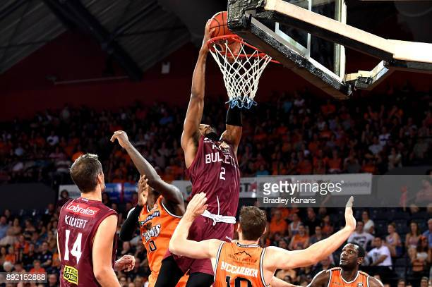 Perrin Buford of the Bullets drives to the basket during the round 10 NBL match between the Cairns Taipans and the Brisbane Bullets at Cairns...