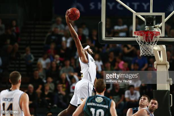 Perrin Buford of the Bullets gets up for a dunk during the round seven NBL match between New Zealand and Brisbane at Spark Arena on November 19 2017...