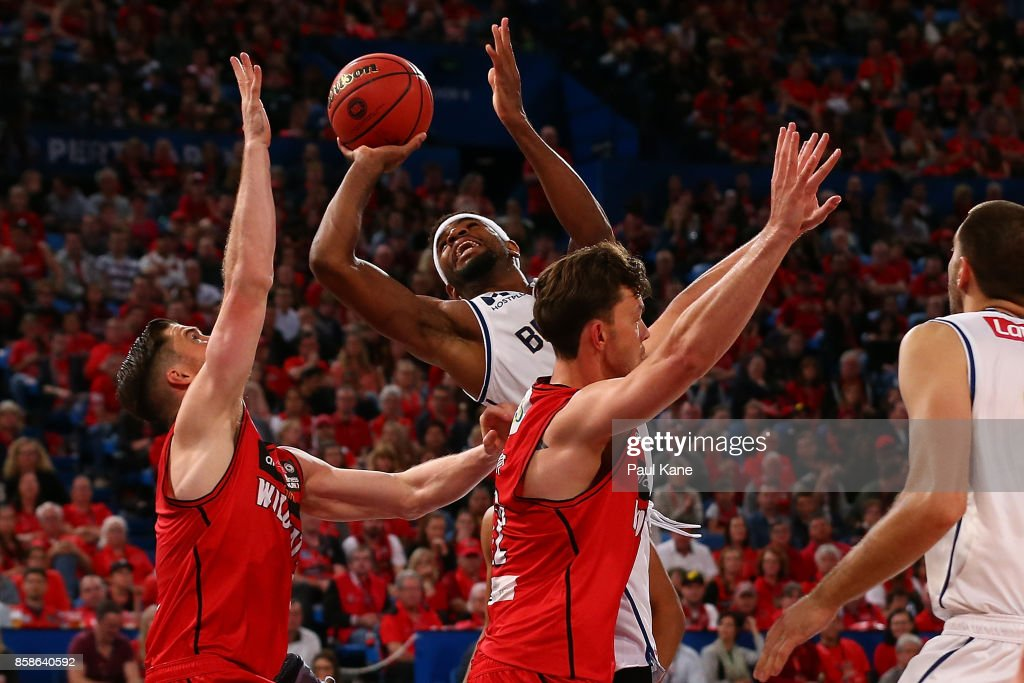 Perrin Buford of the Bullets puts a shot up during the round one NBL match between the Perth Wildcats and the Brisbane Bullets at Perth Arena on October 7, 2017 in Perth, Australia.