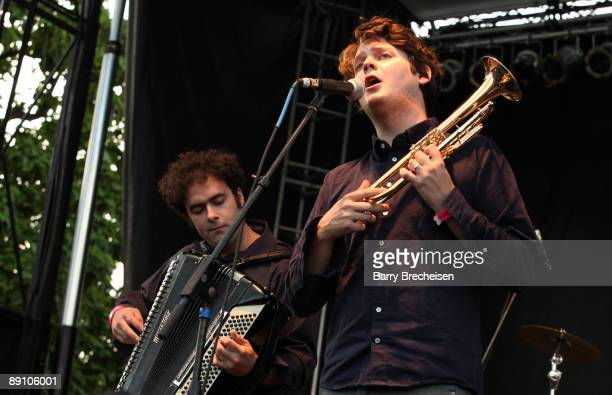 Perrin Cloutier and Zach Condon of Beirut perform during the 2009 Pitchfork Music Festival at Union Park on July 18 2009 in Chicago Illinois