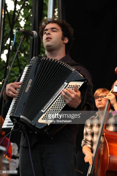 Perrin Cloutier of Beirut performs during the 2009 Pitchfork Music Festival at Union Park on July 18 2009 in Chicago Illinois