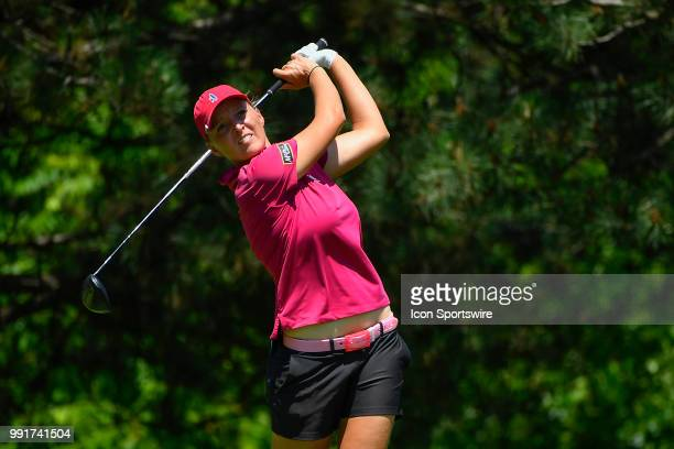 Perrine Delacour of Franc plays her tee shot on the second hole during the second round of the KPMG Women's PGA Championship on June 29 2018 at the...