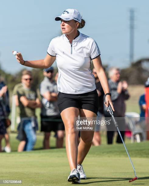 Perrine Delacour of France during day four of the 2020 ISPS HANDA Women's Australian Open at Royal Adelaide Golf Club on February 16 2020 in Adelaide...
