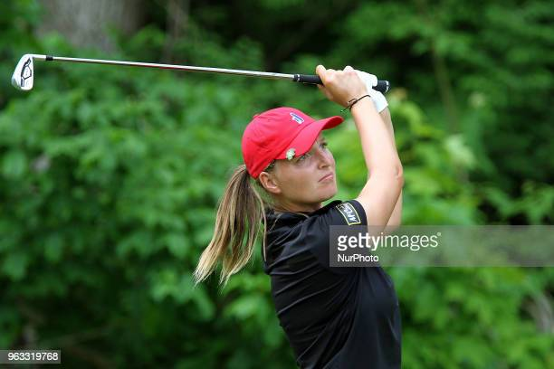 Perrine Delacour of France follows her shot from the 7th tee during the third round of the LPGA Volvik Championship at Travis Pointe Country Club Ann...