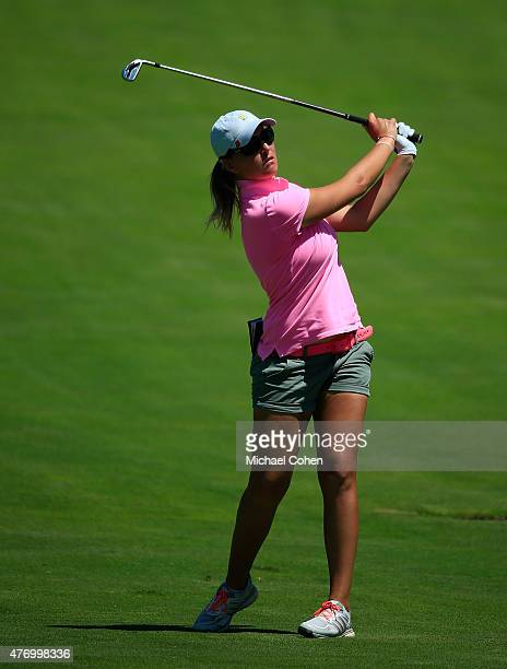 Perrine Delacour of France hits her second shot on the 18th hole during the third round of the KPMG Women's PGA Championship held at Westchester...