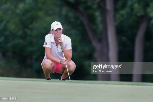 Perrine Delacour of France lines up her put on the 18th green during the first round of the LPGA Marathon Classic presented by Owens Corning on July...