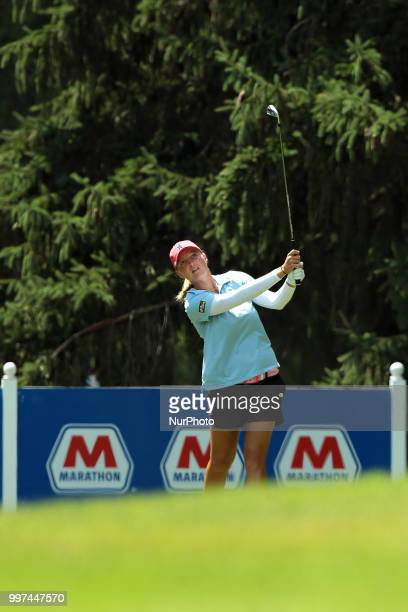 Perrine Delacour of France tees off on the 6th tee during the first round of the Marathon LPGA Classic golf tournament at Highland Meadows Golf Club...
