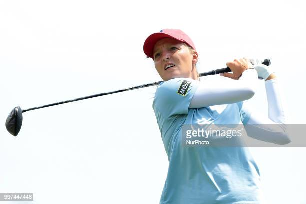 Perrine Delacour of France tees off on the 7th tee during the first round of the Marathon LPGA Classic golf tournament at Highland Meadows Golf Club...