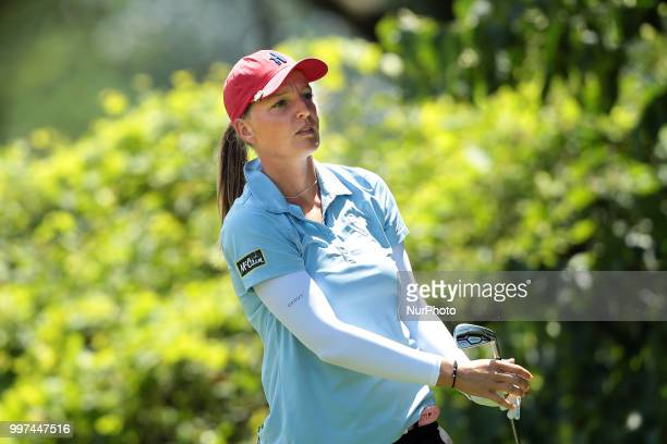 Perrine Delacour of France tees off on the second tee during the first round of the Marathon LPGA Classic golf tournament at Highland Meadows Golf...