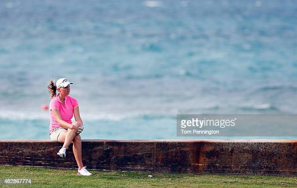 Perrine Delacour of France waits to hit a shot on the eighth hole during round two of the Pure Silk Bahamas LPGA Classic at the Ocean Club course on...