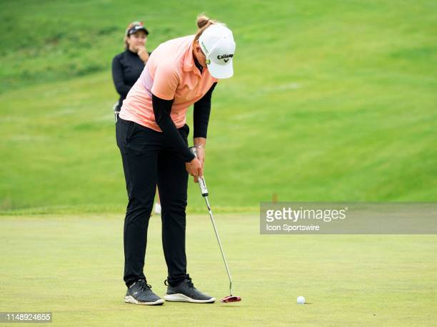 Perrine Delacour of Paris France makes her putt on the 18th hole to finish 9 under par during the final round of the 2019 Symetra Tour Four Winds...