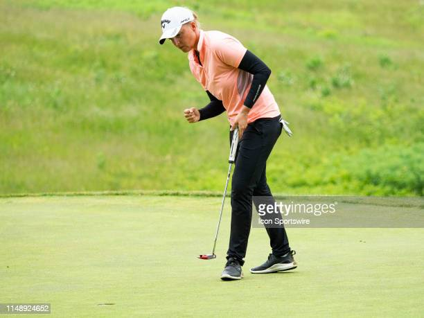 Perrine Delacour of Paris France reacts after making a putt during the final round of the 2019 Symetra Tour Four Winds Invitational on June 9 2019 at...