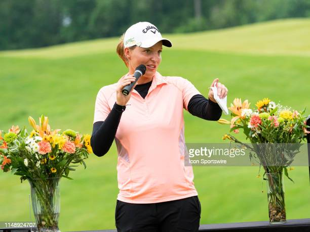 Perrine Delacour of Paris France reacts after winning the final round of the 2019 Symetra Tour Four Winds Invitational on June 9 2019 at the...