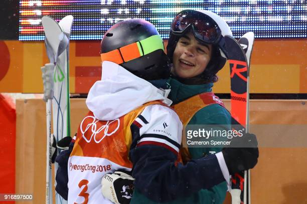 Perrine Laffont of France and Jakara Anthony of Australia congratulate each other during the Freestyle Skiing Ladies' Moguls Final on day two of the...