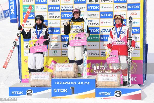 Perrine Laffont of France Britteny Cox Andi Naude of Canada pose with their medals during 2017 FIS Freestyle Ski World Cup Tazawako In Akita...