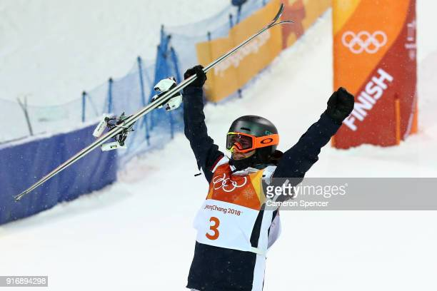 Perrine Laffont of France celebrates winning gold during the Freestyle Skiing Ladies' Moguls Final on day two of the PyeongChang 2018 Winter Olympic...