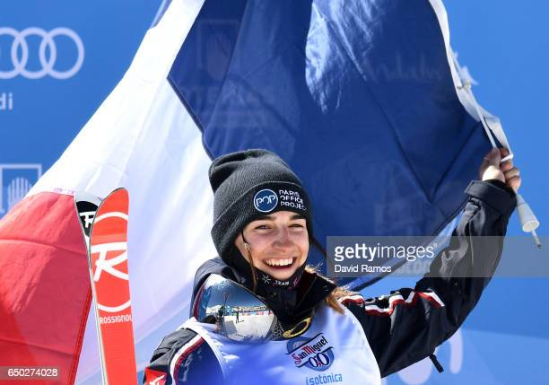 Perrine Laffont of France celebrates winning the gold medal in the Women's Dual Moguls on day two of the FIS Freestyle Ski and Snowboard World...