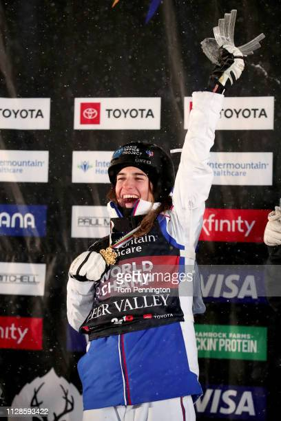 Perrine Laffont of France in first place celebrates on the podium in the Ladies' Dual Moguls Final of the FIS Freestyle Ski World Championships on...