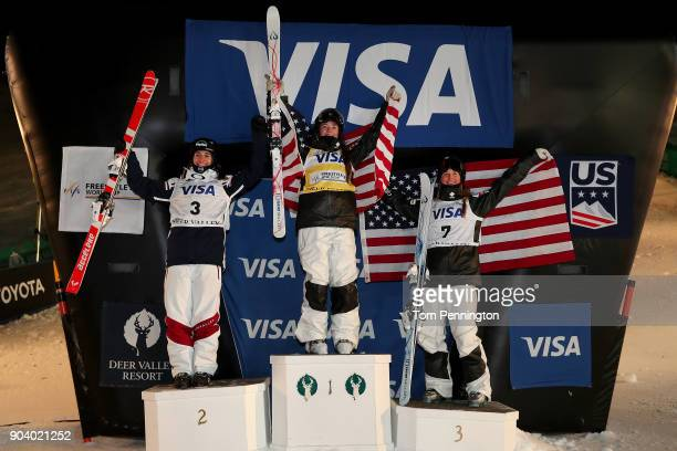 Perrine Laffont of France in second place Jaelin Kauf of the United States in first place and Morgan Schild of the United States in second place...