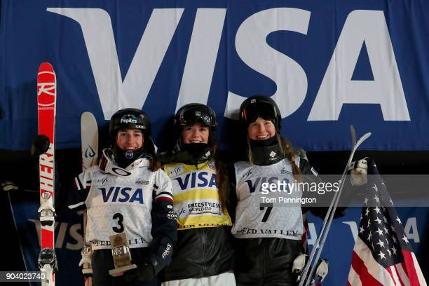 Perrine Laffont of France in second place Jaelin Kauf of the United States in first place and Morgan Schild of the United States in third place...
