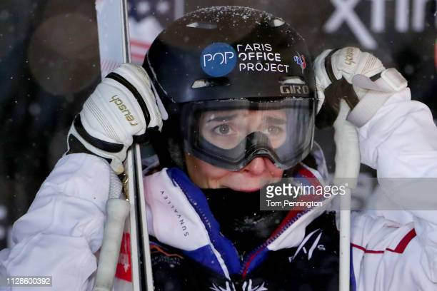 Perrine Laffont of France reacts after winning the Ladies' Dual Moguls Final of the FIS Freestyle Ski World Championships on February 09 2019 at Deer...