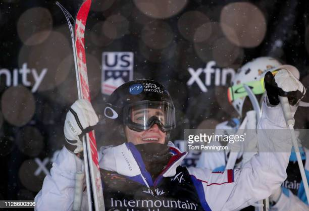 Perrine Laffont of France reacts after winning the Ladies' Dual Moguls Final of the FIS Freestyle Ski World Championships on February 09, 2019 at...