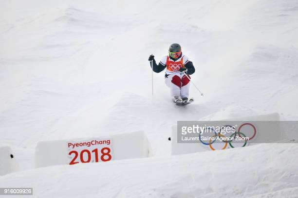 Perrine Laffont of France takes 1st place during the Freestyle Skiing Men's Women's Moguls Qualifications at Pheonix Snow Park on February 9 2018 in...