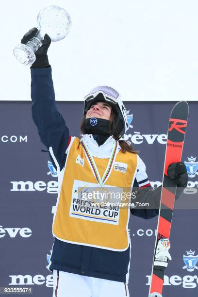 Perrine Laffont of France wins the globe in the discipline standings during the FIS Freestyle Ski World Cup Men's and Women's Moguls Finals on March...