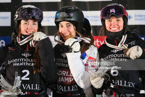 Perrine Laffont of France wins the gold medal Jaelin Kauf of USA wins the silver medal Tess Johnson of USA wins the bronze medal during the FIS World...
