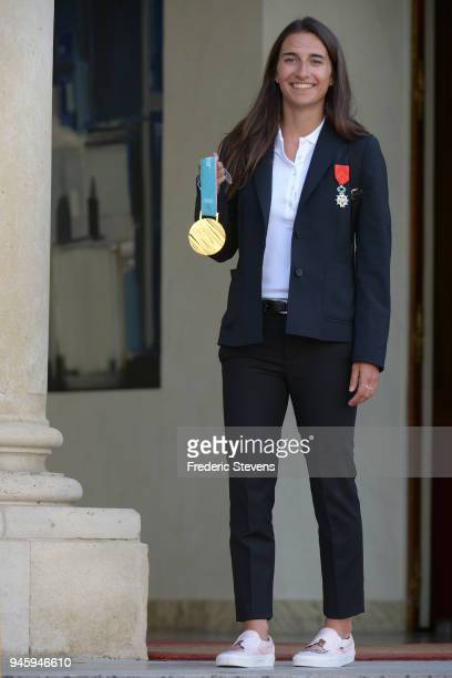 Perrine Lafont mogul skier Gold medalist at the Pyeongchang Winter Olympics poses at the Elysee Palace after a cocktail reception hosted by French...