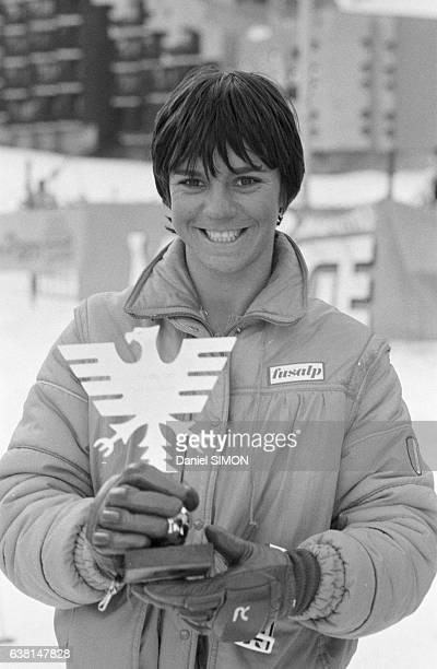 Perrine Pelen lors du criterium international de la première neige à Val d'Isère France du 2 au 8 décembre 1979