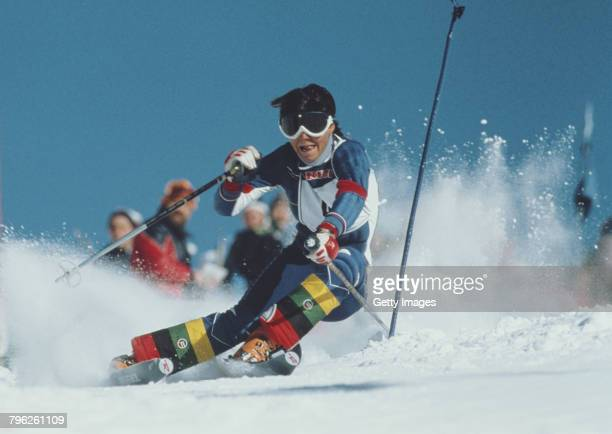 Perrine Pelen of France skiing in the Women's Slalom competition on 8 January 1979 during the Alpine Skiing World Cup competition at Les Gets...