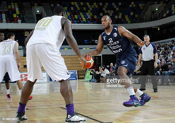 Perris Blackwell of Worcester takes on Olumide Oyedeji of London during the British Basketball League match between London Lions and Worcester Wolves...