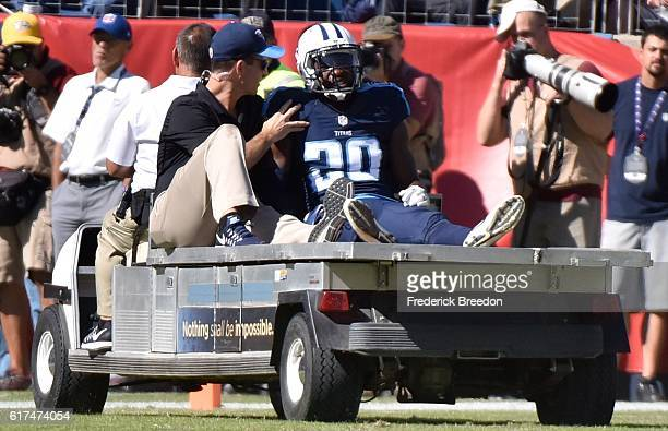 Perrish Cox of the Tennessee Titans is carted off the field after being injured during a game against the Indianapolis Colts during the first half at...