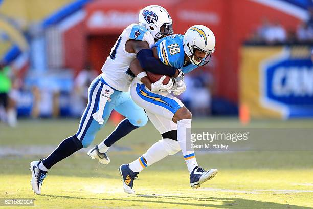 Perrish Cox of the Tennessee Titans tackles Tyrell Williams of the San Diego Chargers during the second half of a game at Qualcomm Stadium on...