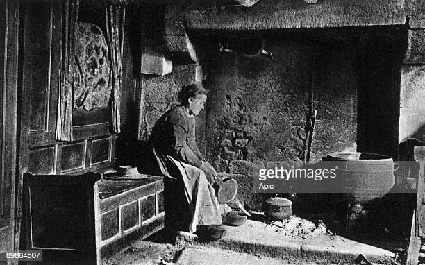 Perros Guirec interior of a house with closed bed postcard c 1900