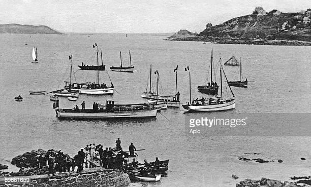 Perros Guirec Trestraou bay and PorsNevez headland postcard c 1910