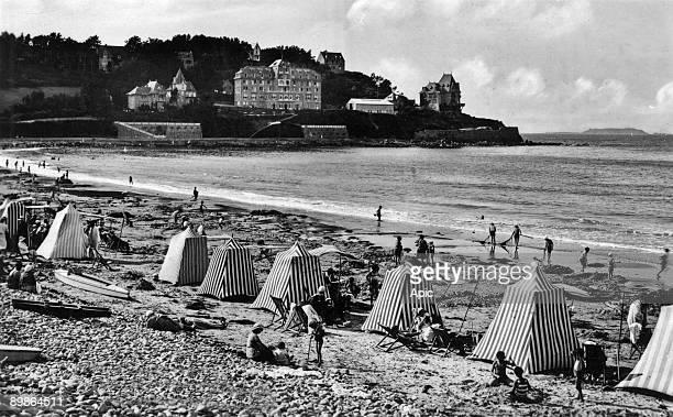 Perros Guirec Trestraou beach with tents postcard c 1920