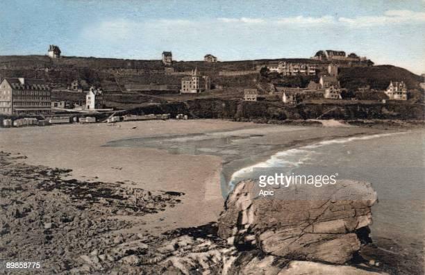Perros Guirec Trestrignel beach postcard c 1920