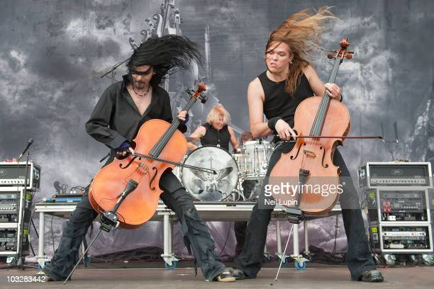 Perrtu Kivilaakso and Eicca Toppinen of Apocalyptica perform on stage during day two of the Sonisphere Festival at Knebworth House on July 31 2010 in...