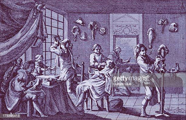 Perruquier's Shop England 18th century Illustration of maker of perukes or wigs