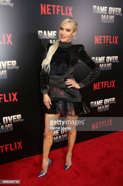 """Perry attends the premiere of the Netflix film """"Game Over, Man!"""" at the Regency Village Westwood in Los Angeles at Regency Village Theatre on March..."""